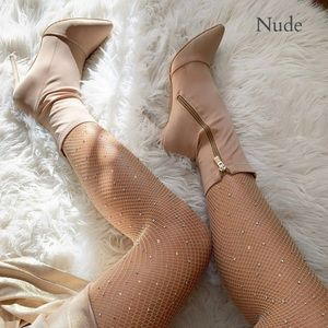 Pants - JUJ Nude Sequins fishnet tights